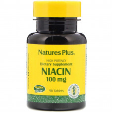 Ніацин, Natures Plus, Niacin, 100 мг, 90 таблеток