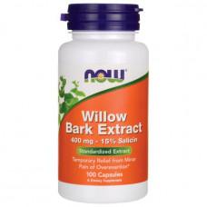 Верба біла, Now Foods, Willow, 400 мг, 100 капсул