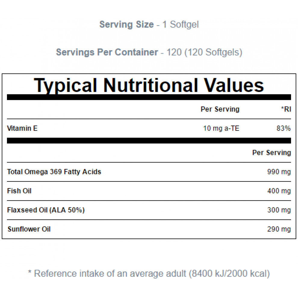 Омега-3, MyProtein, Omega-3, 300мг, 100 капсул