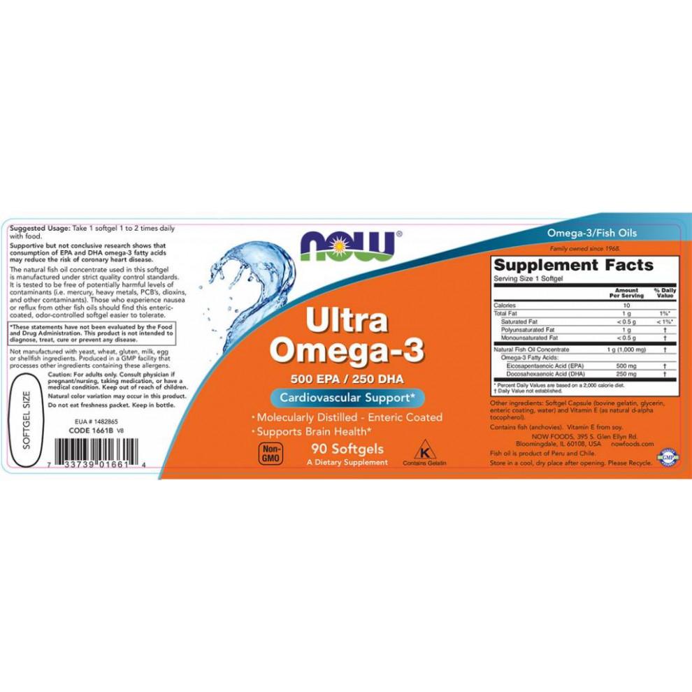 Ультра Омега-3, Now Foods, Ultra Omega-3, 90 капсул