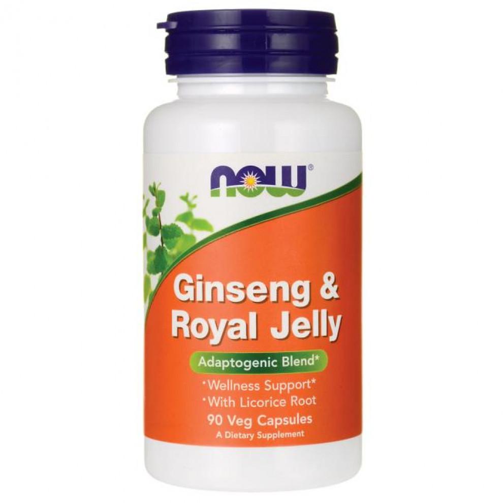 Женьшень і маточне молочко, Now Foods, Ginseng & Royal Jelly, 90 капсул