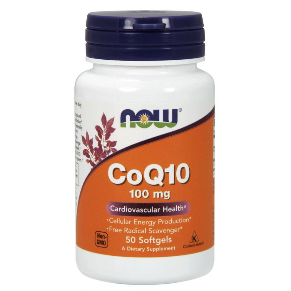 Коэнзим Co-Q10, Now Foods, 50 капсул, 100 мг