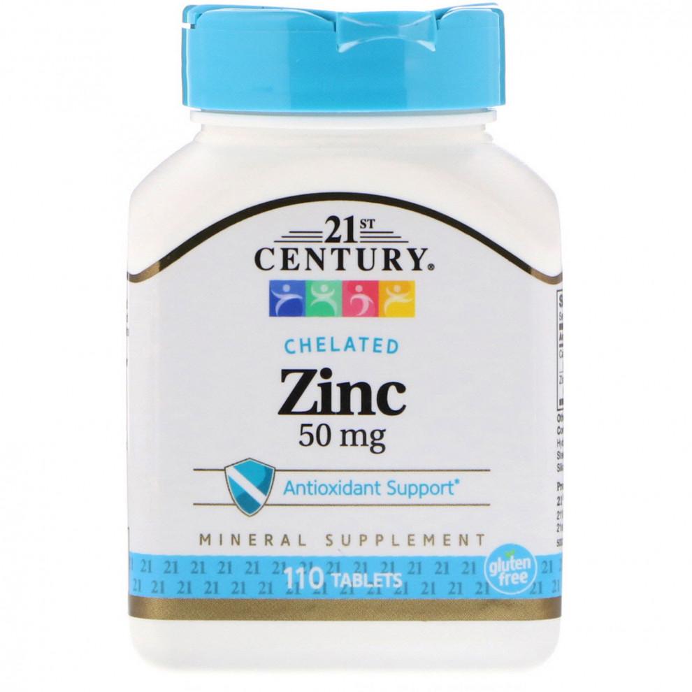 Цинк, 21 Century, Zinc, 50 мг, 100 таблеток
