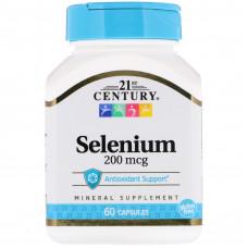 Селен, 21 Century, Selenium, 200 мкг, 60 капсул