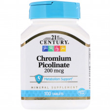 Хрому піколінат, 21 Century, Chromium Picolinate, 200 мкг, 100 таблеток
