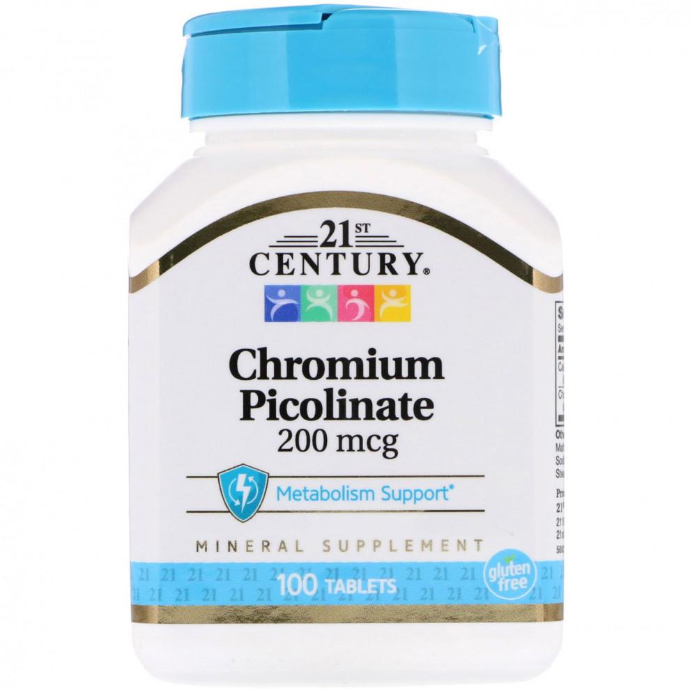 Хрома пиколинат, 21 Century, Chromium Picolinate, 200 мкг, 100 таблеток