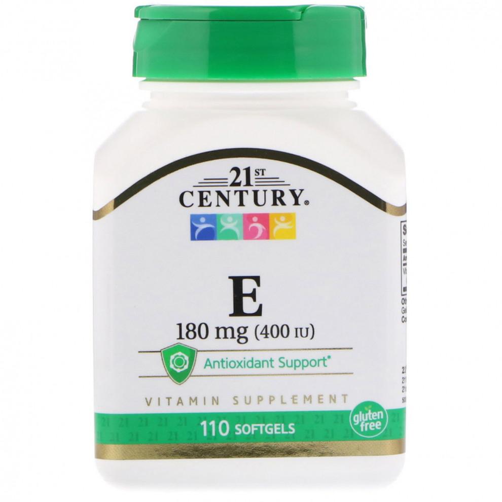 Витамин Е, 21 Century, Vitamin E, 110 капсул, 400 мо