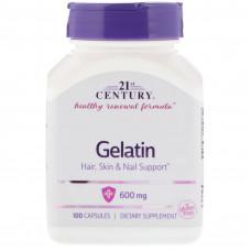 Желатин, 21 Century, Gelatin, 600 мг, 100 капсул