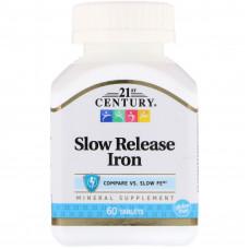 Залізо, 21 Century, Slow Release Iron, 100 капсул