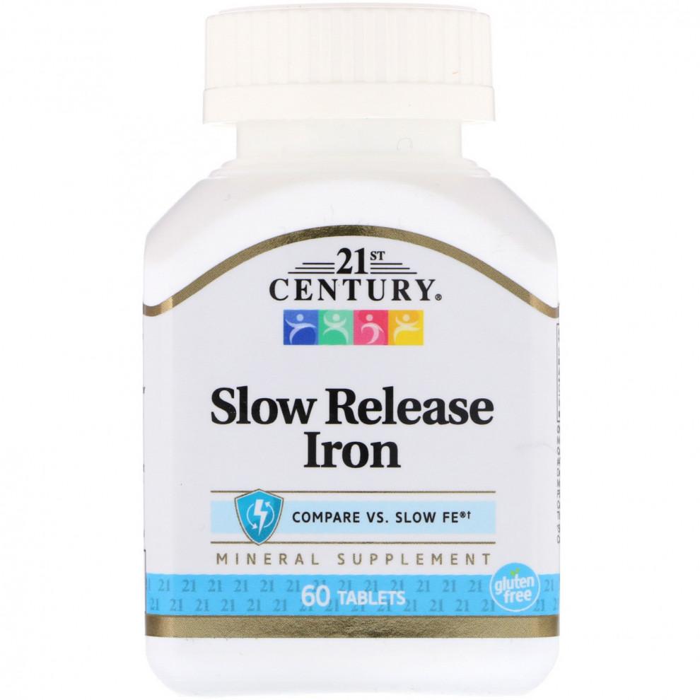 Железо, 21 Century, Slow Release Iron, 100 капсул