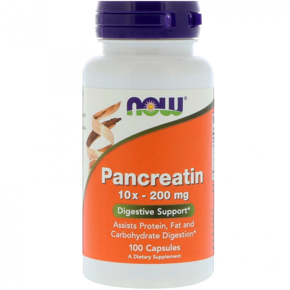 Панкреатин, Now Foods, Pancreatin 10x - 200 mg, 100 капсул