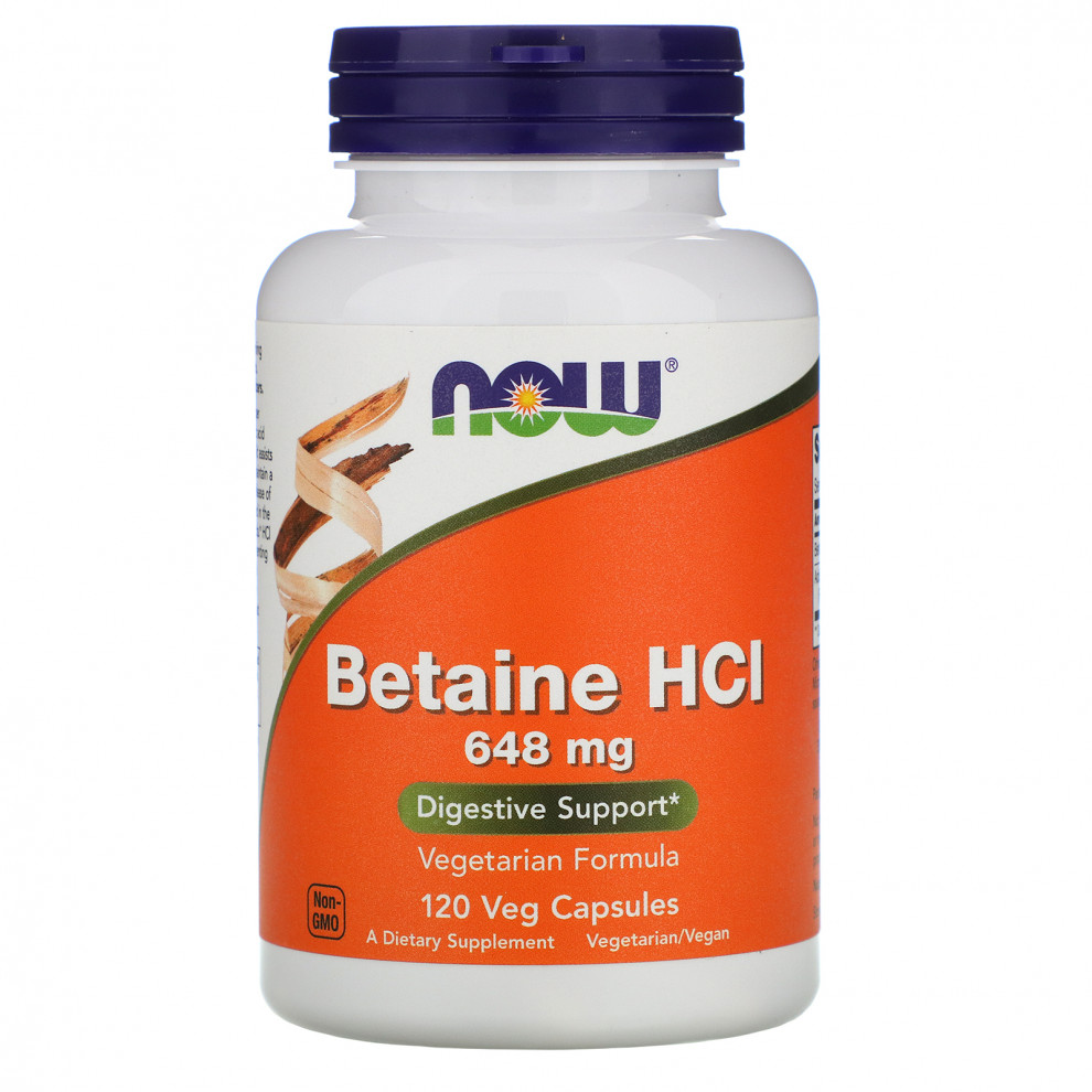 Бетаїн, Now Foods, Betaine HCI, 648 мг, 120 капсул