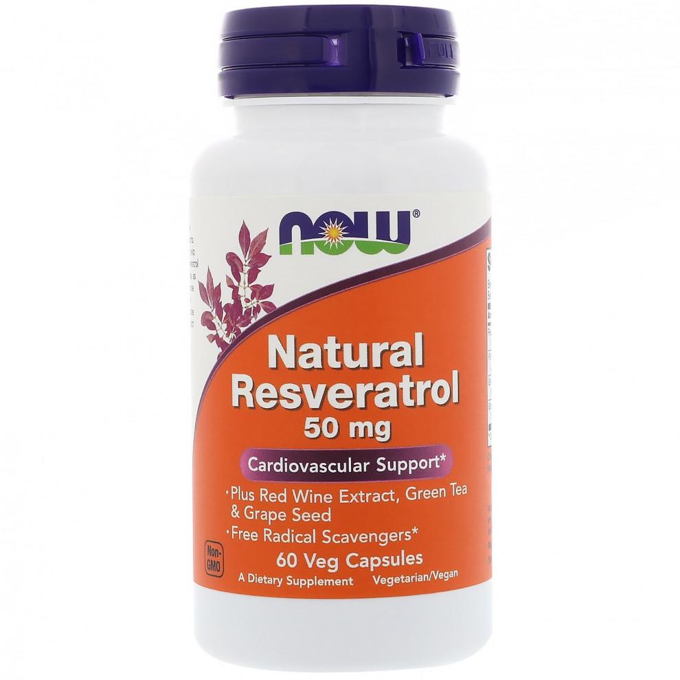 Ресвератрол, Now Foods, Resveratrol,50 мг, 60 капсул